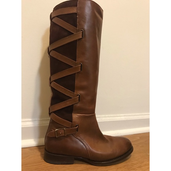 daca2ea1209 Frye Jordan Strappy Tall Leather/Suede Boots